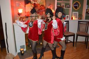 Three muskateers (i.e. slutty pirates) at the Halloween Party